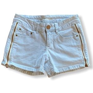 COTTON zip up shorts light blue pinstripe 24